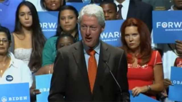 Bill Clinton speaks at Palm Beach State College on Friday.