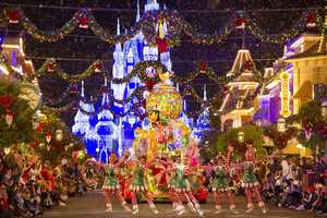 2. Winter Wonderland takes over the Magic Kingdom.  The Magic Kingdom has been transformed into a festive holiday wonderland with wreaths, bows, garland, sparkling lights, parades and towering Christmas trees.  During Mickey's Very Merry Christmas Party guests can visit with Disney characters all dressed up for the holidays.