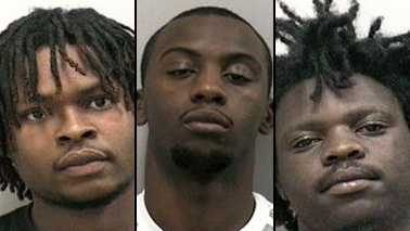 From left, Jonathan McKinney, Anthony Grant and Marcus Tolbert are all charged with armed robbery.