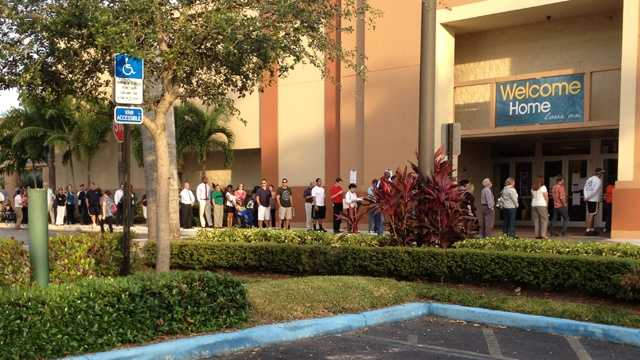 Voters stand in line