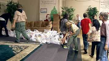 Boy Scouts in Palm Beach County said they collected about 20,000 pounds of food for a local food bank on Nov 10. (Photo: Rob Catanese/WPBF)