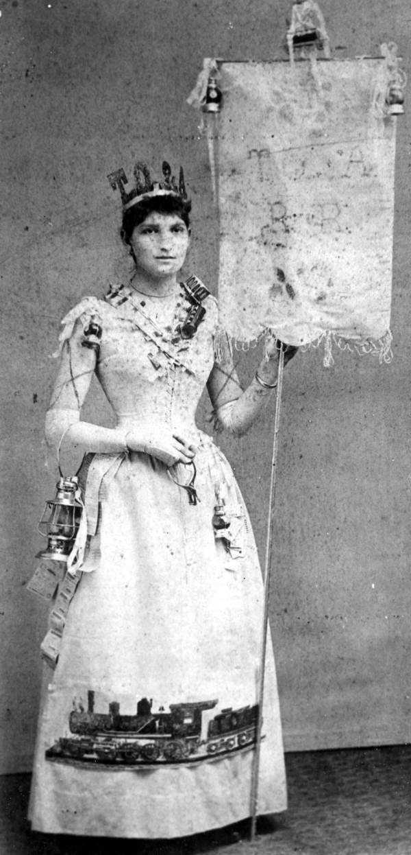 Ella Tucker in costume to celebrate opening of the Tavares, Orlando and Atlantic Railroad in 1885.