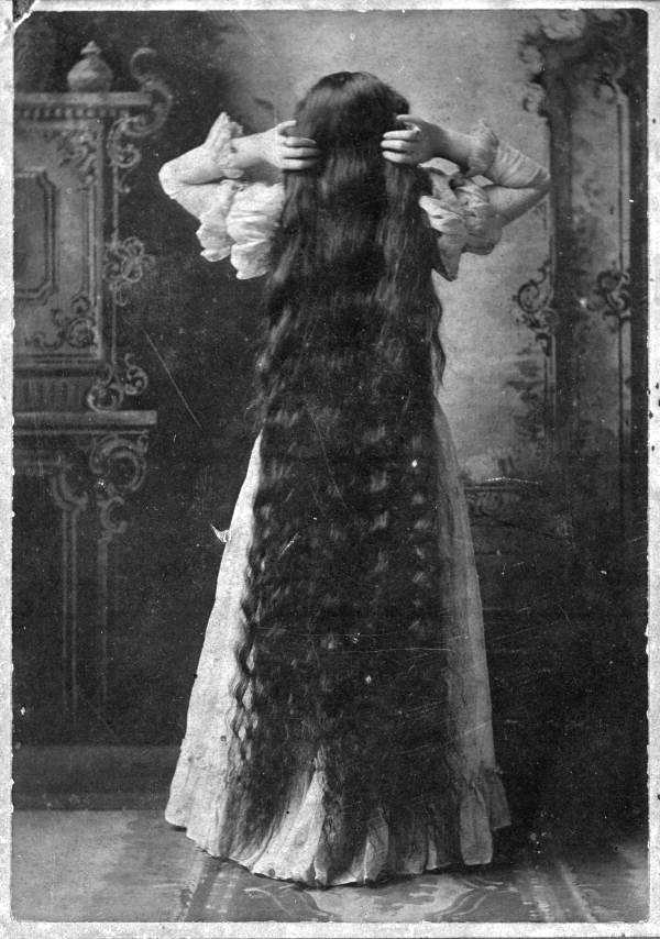Laura Virginia Wilson shows off her long hair in the 1880s near Bartow.
