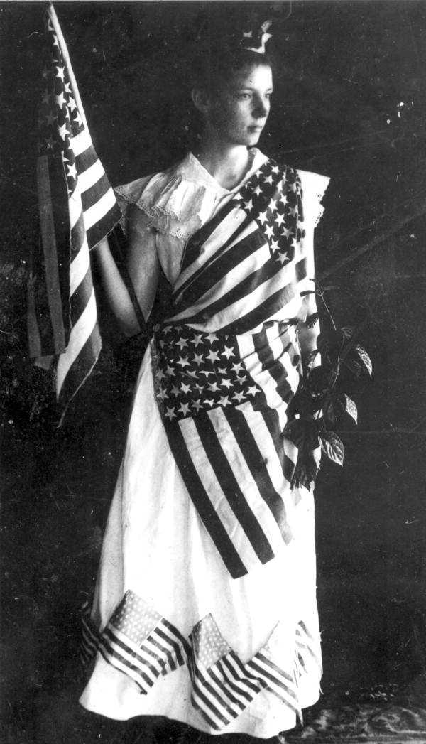 Marion Duncan in costume for 4th of July play in Tavares around 1890.