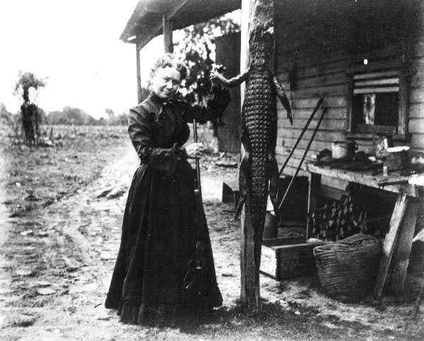 In the early 1900s, Mrs. Morton was captured standing next to a dead alligator in Leesburg.