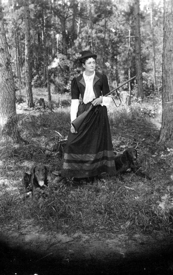 A woman in the 1880s goes hunting with her dogs in Tallahassee.