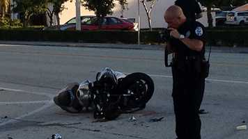 A motorcyclist was taken to a hospital after being struck by a pickup truck on Nov. 15. (Photo: Chris McGrath/WPBF)