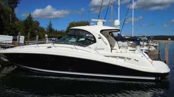 """The 44-foot luxury boat named """"Serenity Now"""" was stolen from the Allied Marine marina in Stuart."""