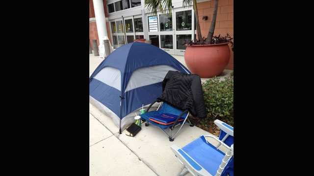 A tent was already up outside the Best Buy store in Boynton Beach, where shoppers wait to be the first to take advantage of the Black Friday deals.