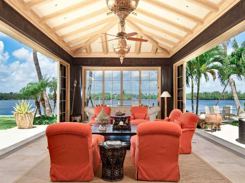 Outdoor entertaining area on the water.