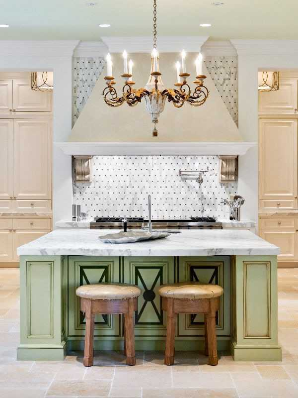 Another view of this beautiful kitchen and the lime green, marble topped island.