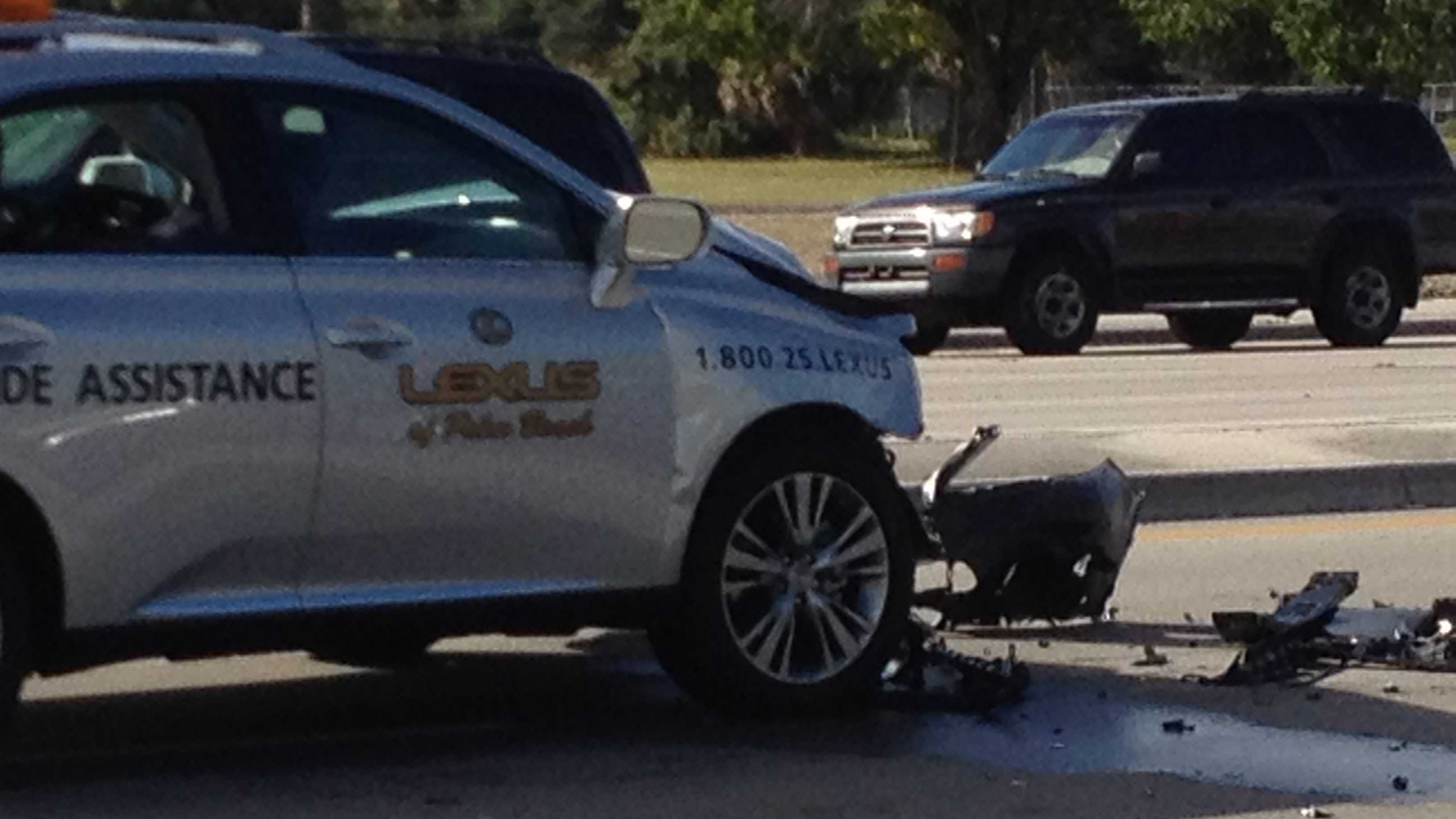 A passenger was ejected after a three-vehicle crash on Okeechobee Boulevard in West Palm Beach.
