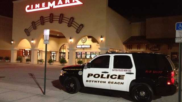 The Cinemark theater in Boynton Beach was evacuated after a bomb threat Sunday night. (Photo: Ted White/WPBF)