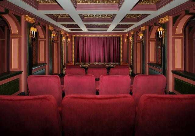 A beautiful state of the art home theater, which seats 9 people comfortably.