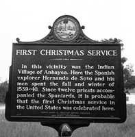 1962: The State of Florida marks where it was believed that the first Christmas Service was held in Leon County during the winter of 1539.