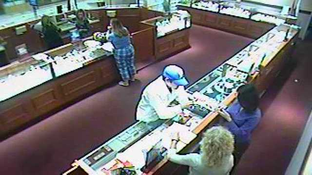 Deputies have released this surveillance photo in hopes that someone will recognize the man who stole a 1.9-carat diamond engagement ring.