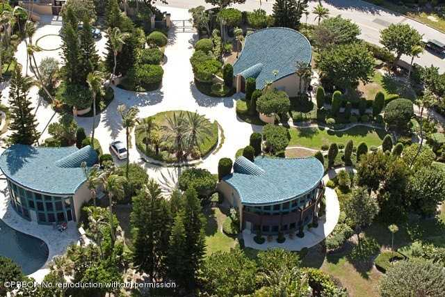 Aerial view of the amazing 12,345 Sq Ft home. In total the home has 8 bedrooms and 15 bathrooms.