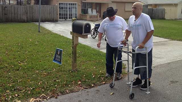 Less than three months after losing his leg while helping accident victims, Angel Soto takes his first steps with a prosthetic leg at his home in Boynton Beach. (Photo: Angela Rozier/WPBF)