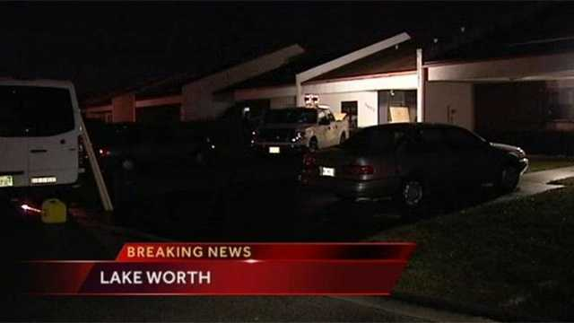 Two adults and a child got out of their burning home in Lake Worth on Thursday, and their dog was right behind them.