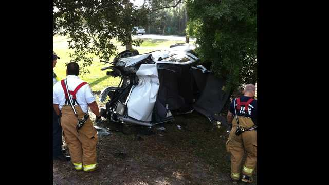 Truck slams into tree