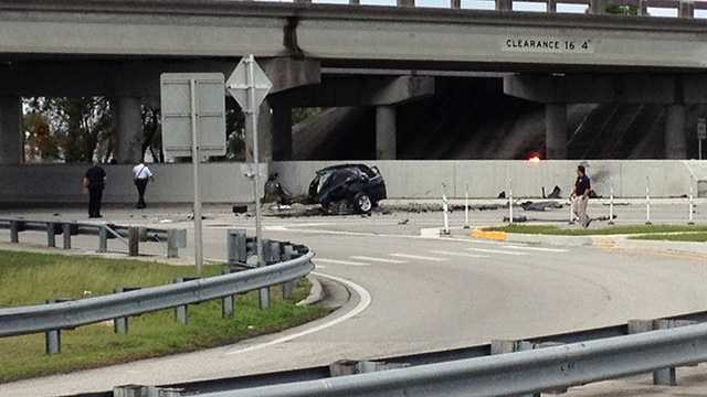 A driver was killed in this crash on Okeechobee Boulevard in downtown West Palm Beach.