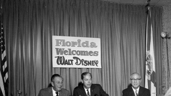 On Nov. 15, 1965, at the Cherry Plaza Hotel in Orlando, Walt Disney, Roy Disney and Gov. Hayden Burns make the first announcement of Disney World in Orlando.