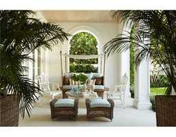 Outdoor, shaded patio.