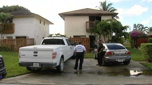 A man was burned after a fire started inside this home on Garden Hills Circle in West Palm Beach.