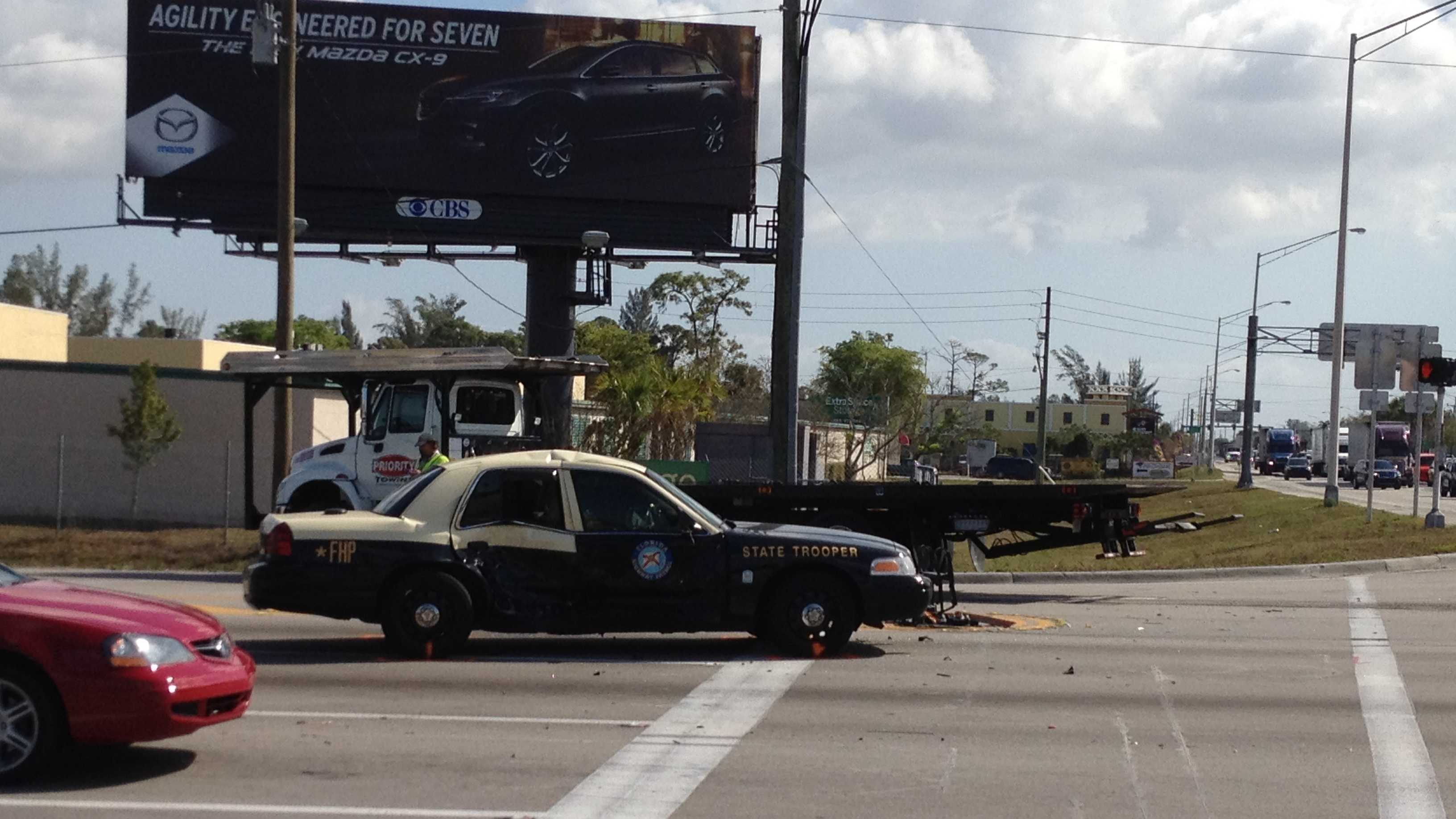 This Florida Highway Patrol cruiser was involved in a collision on Southern Boulevard.