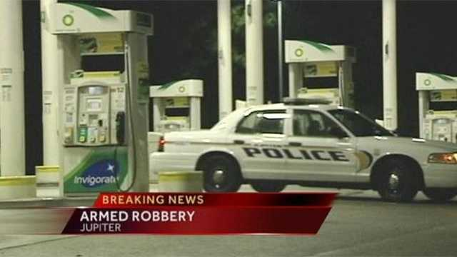 Police are looking for the two people who robbed a gas station in Jupiter.
