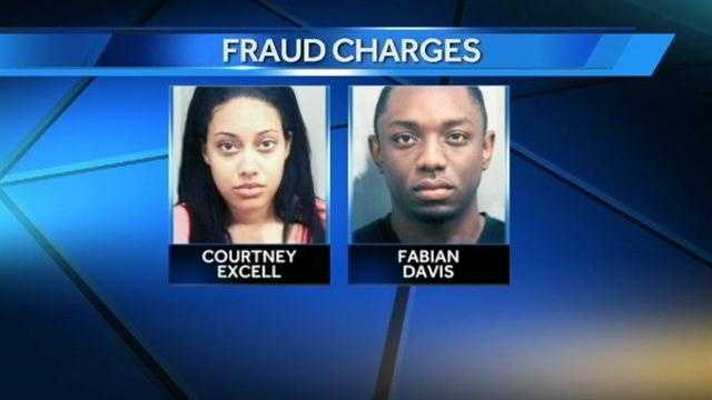 Courtney Excell and Fabian Davis are under arrest for their alleged involvement in an identity-theft scam.