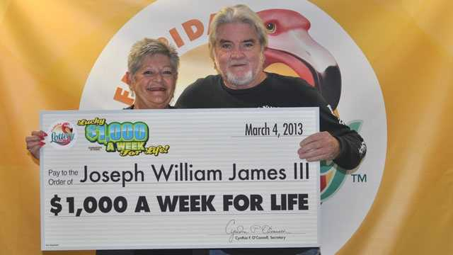 Joseph William James III won $1,000 a week for life playing a $2 Florida Lottery scratch-off game.