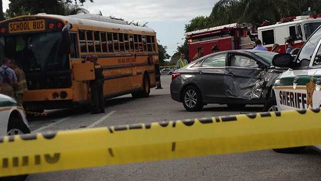 An accident involving a school bus resulted in several injuries in Lake Worth on Wednesday morning. (Photo: Chris McGrath/WPBF)