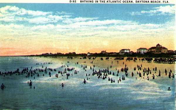 Bathing in the Atlantic Ocean near Daytona Beach in 1928.