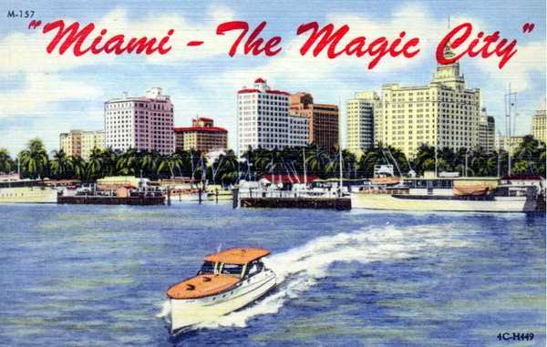 """Miami is dubbed """"the Magic City"""" in this undated postcard."""