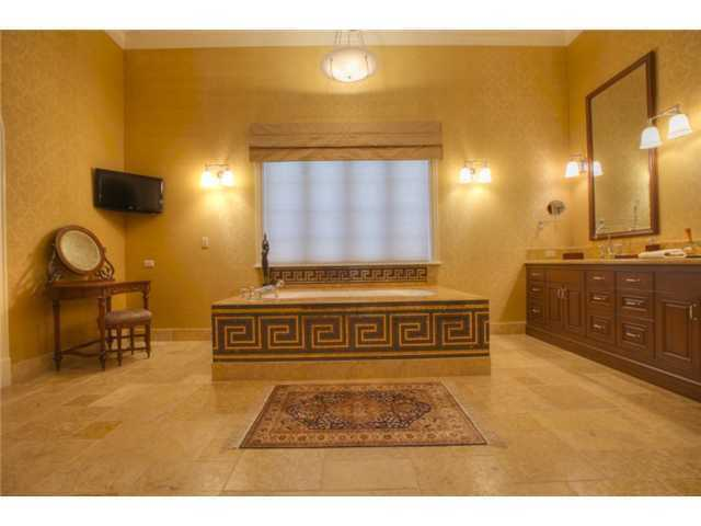 The master bathroom is full of fantasy, illuminated by dim lighting and a large sized spa tub.
