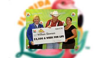 William Slawson, of Kissimmee, won $2,500 a week for life on a scratch-off.