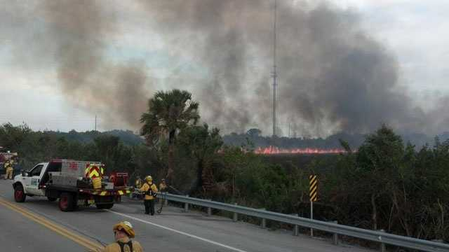 A brush fire rekindled Sunday in St. Lucie County.