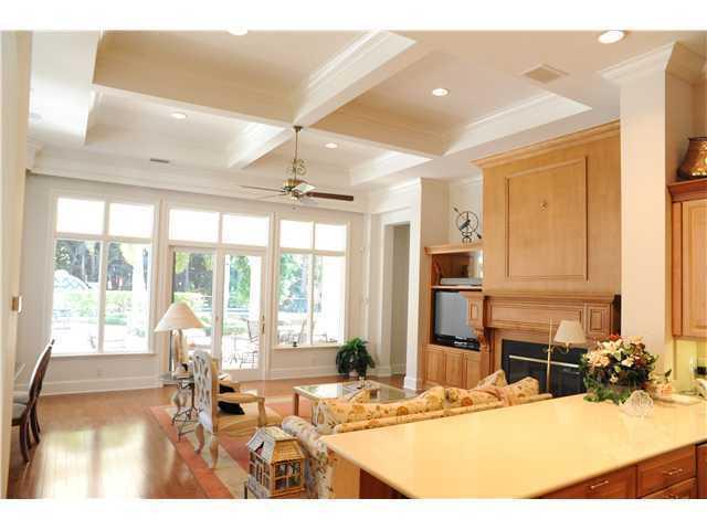 Kitchen overlooks the family room.