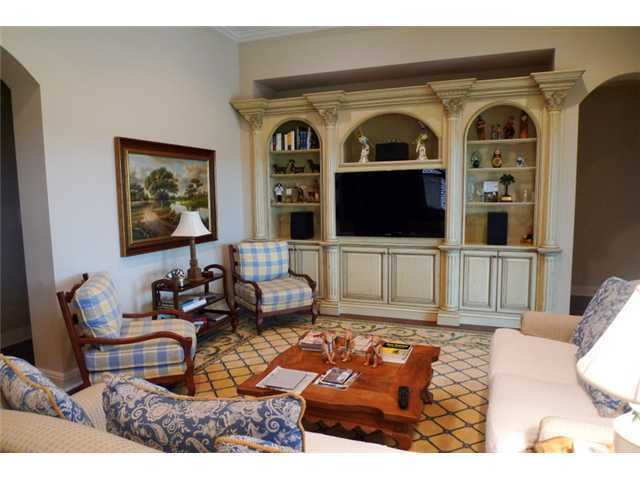 Casual family room has a country charm to its design.