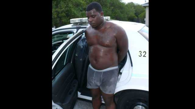 Police say Torrey Howard was found hiding on a back porch in Port St. Lucie, dressed only in his underwear.