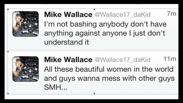 Mike Wallace took down his first Twitter post, pictured on the bottom of the two tweets pictured above.