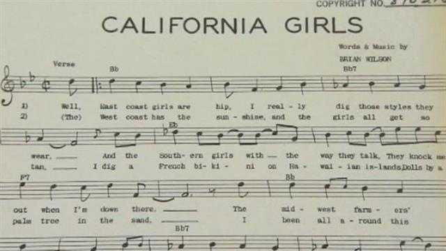 "This is an original piece of sheet music to the song ""California Girls"" (1965)."