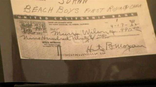 "This is the first royalty check the Beach Boys ever earned. They were paid $900 for ""Surfin' U.S.A."" (1963)."