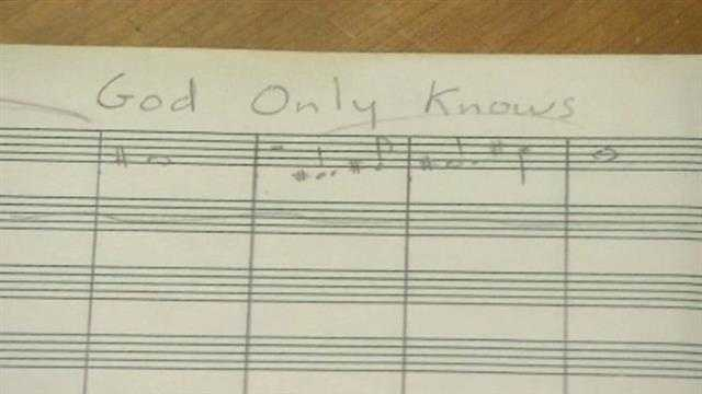 "This is a handwritten piece of sheet music for the song ""God Only Knows"" (1966)."