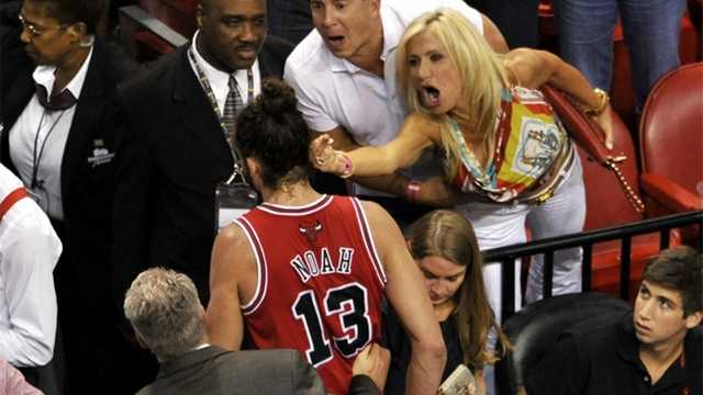 The woman who flipped off Chicago Bulls forward Joakim Noah on Wednesday night was identified as Filomena Tobias.