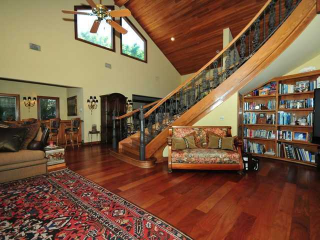 Beautiful wooden, winding staircase.