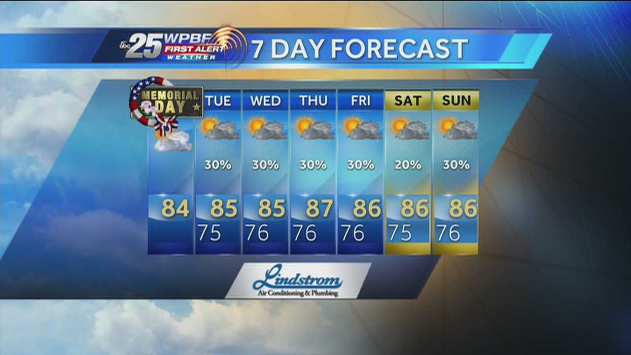 Sandra says a pleasant afternoon is on tap for your Memorial Day holiday.
