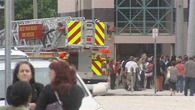 Everyone was evacuated from the Palm Beach County courthouse because of smoke in an elevator shaft.