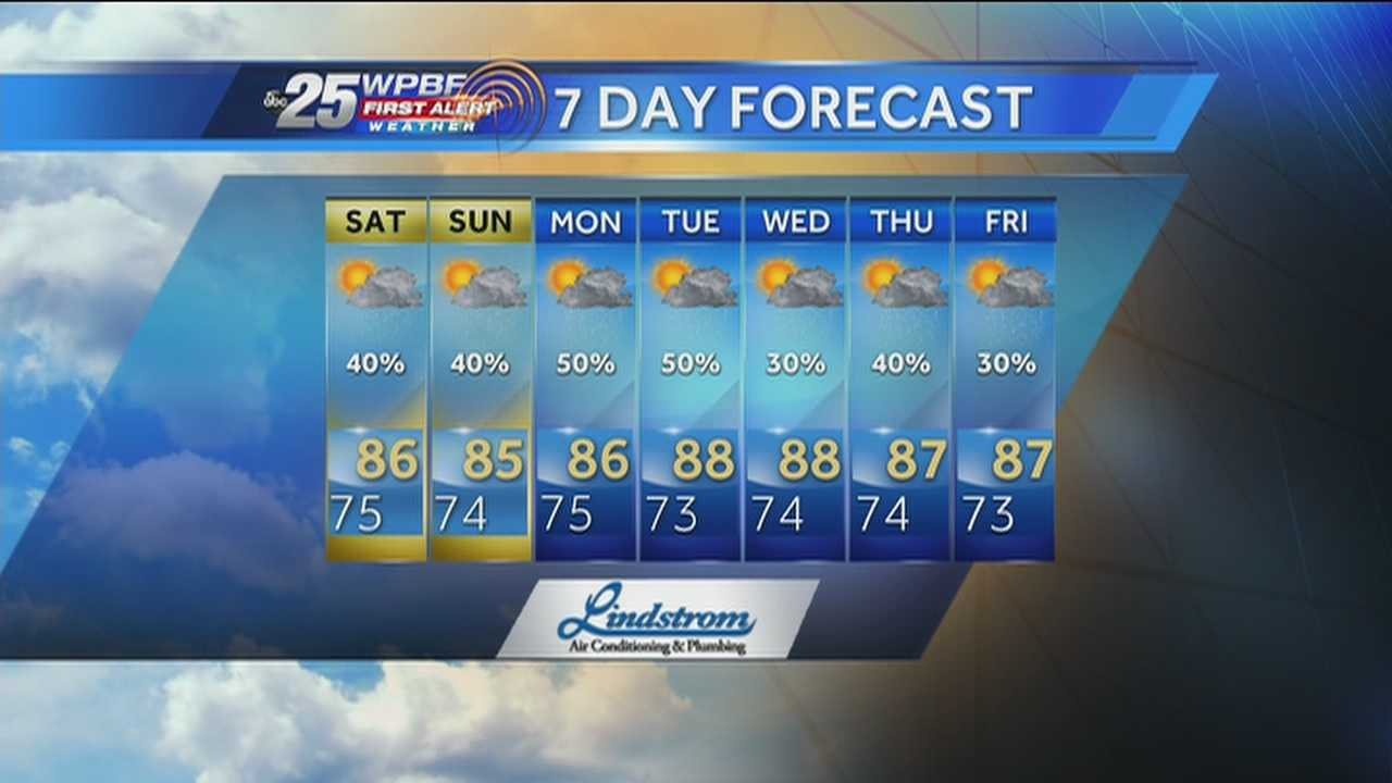 Justin says a warm weekend is on tap around the Palm Beaches and Treasure Coast, but chances for rain are again pretty strong.